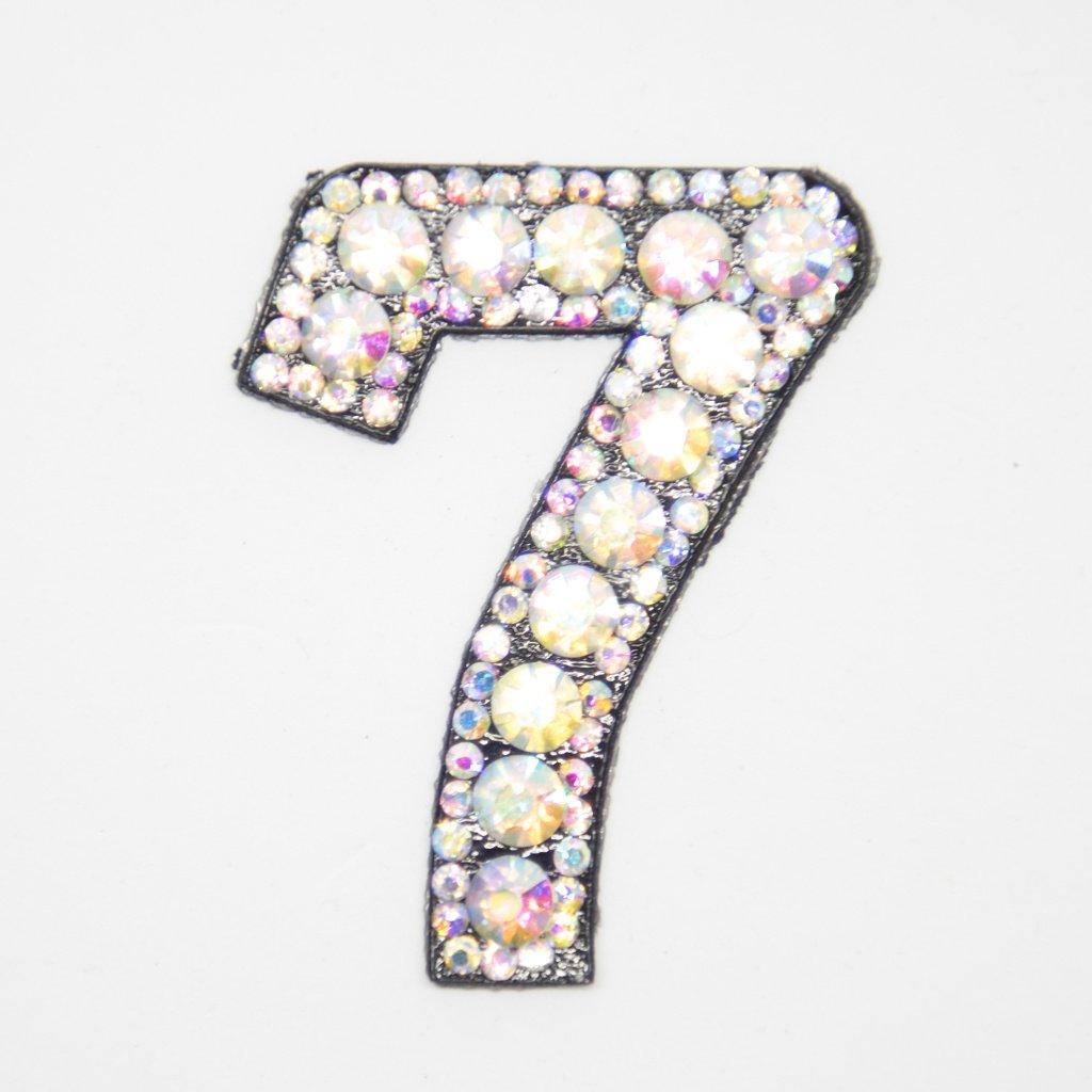 Číslice 7 třpitivá s kamínky nášivka