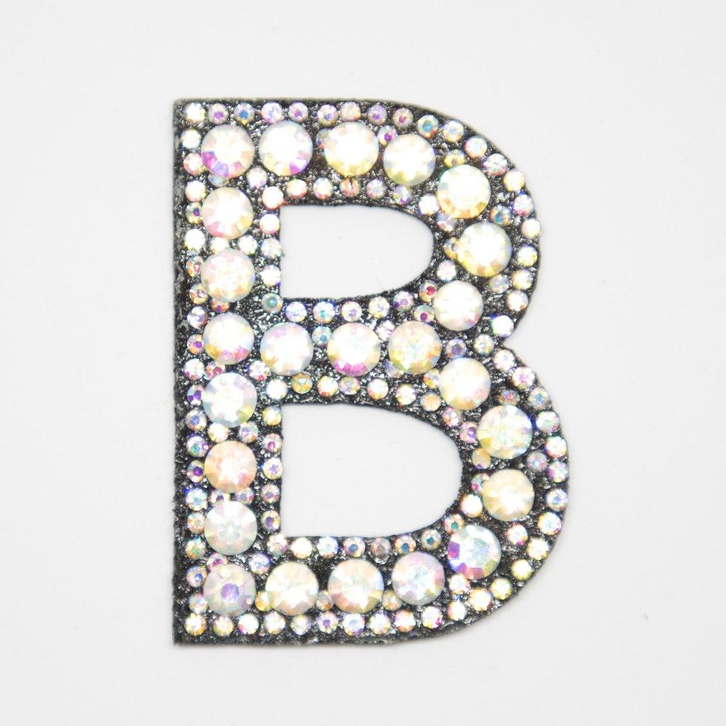 Písmeno B třpitivé s kamínky nášivka
