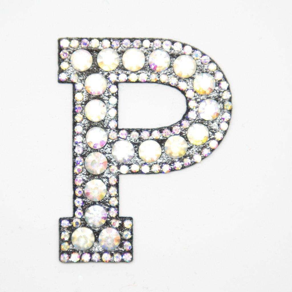 Písmeno P třpitivé s kamínky nášivka