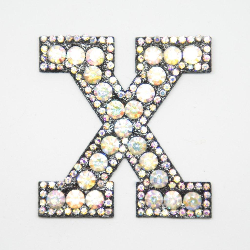 Písmeno X třpitivé s kamínky nášivka