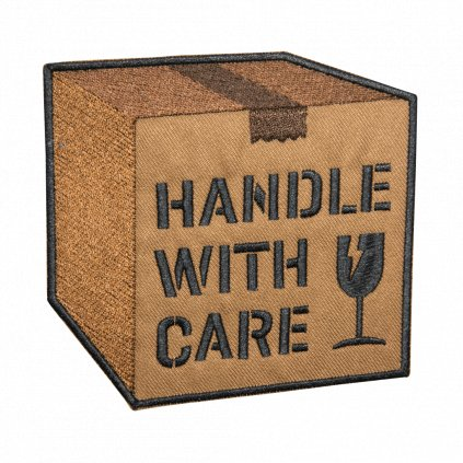 HANDLE WITH CARE krabice nášivka