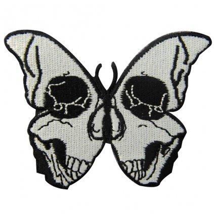 Motýl s lebkou nášivka