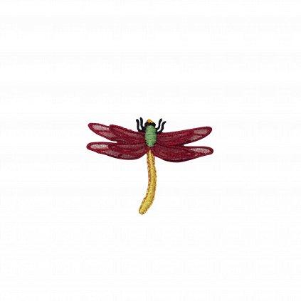 Vážka červená krajková nášivka