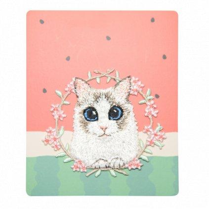 Roztomilá kočka v kruhu květin nášivka