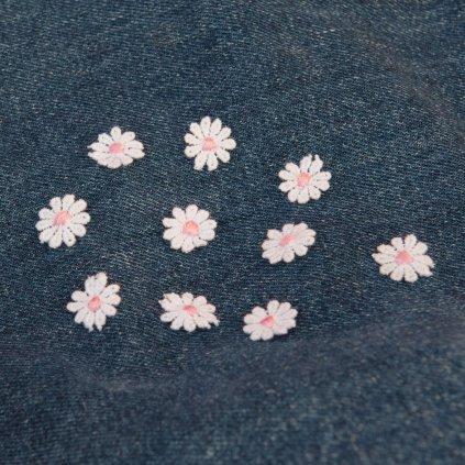 Sada 10-ti růžových kytiček nášivka