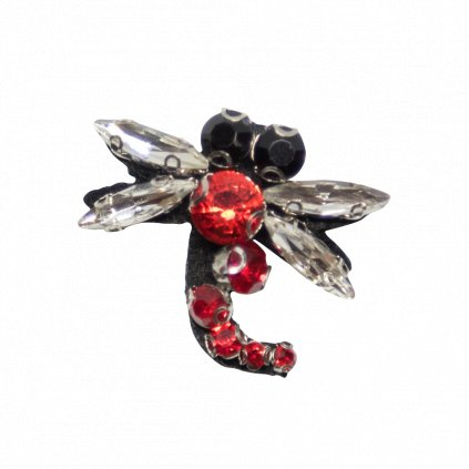 Vážka červená s korálky nášivka