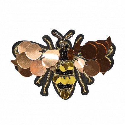 Včela s korálky třpitivá nášivka