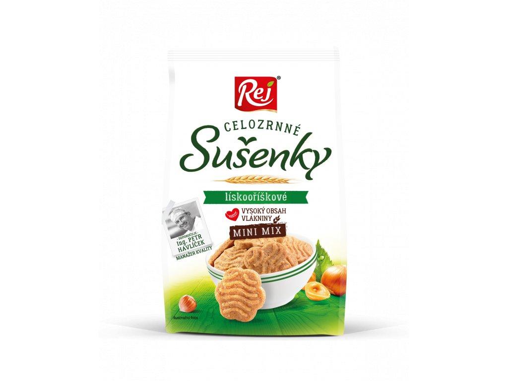 Sušenky celozrnné mini mix lískooříškové 190g