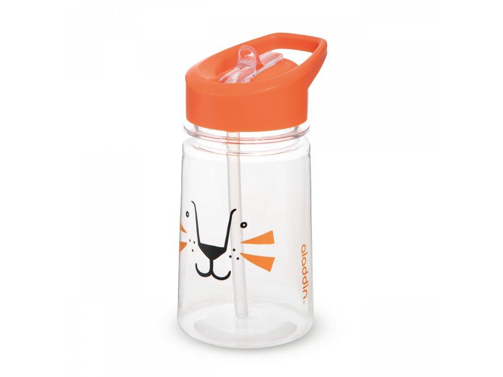 ALADDIN Zoo Flip & Sip dětská láhev s brčkem Lev 430ml