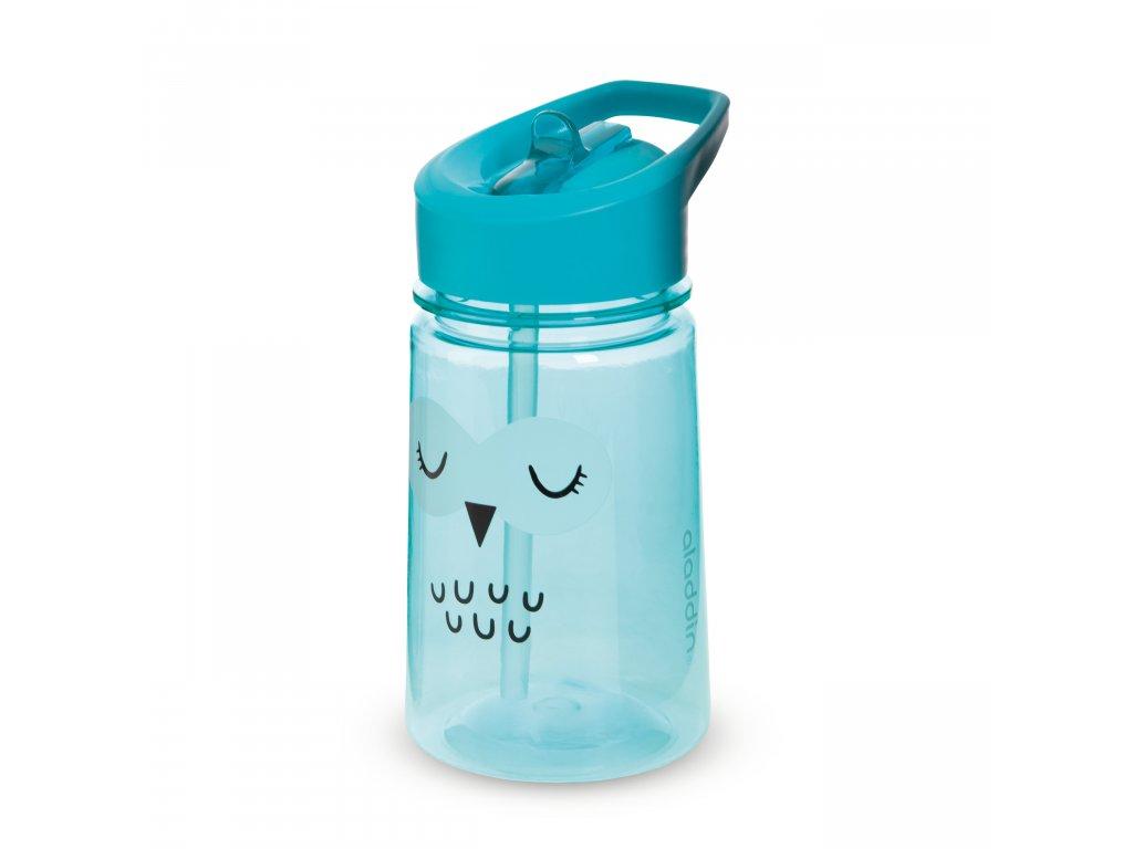 ALADDIN Zoo Flip & Sip dětská láhev s brčkem Sova 430ml