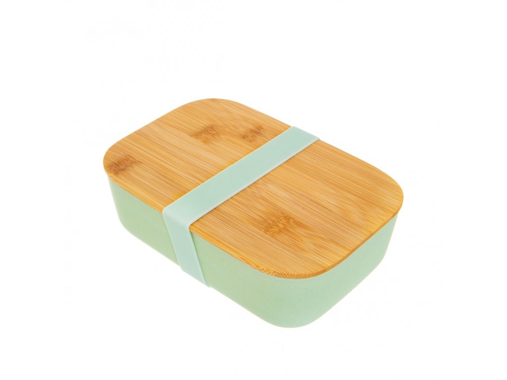 ZOE063 A Teal Bamboo Lunch Box