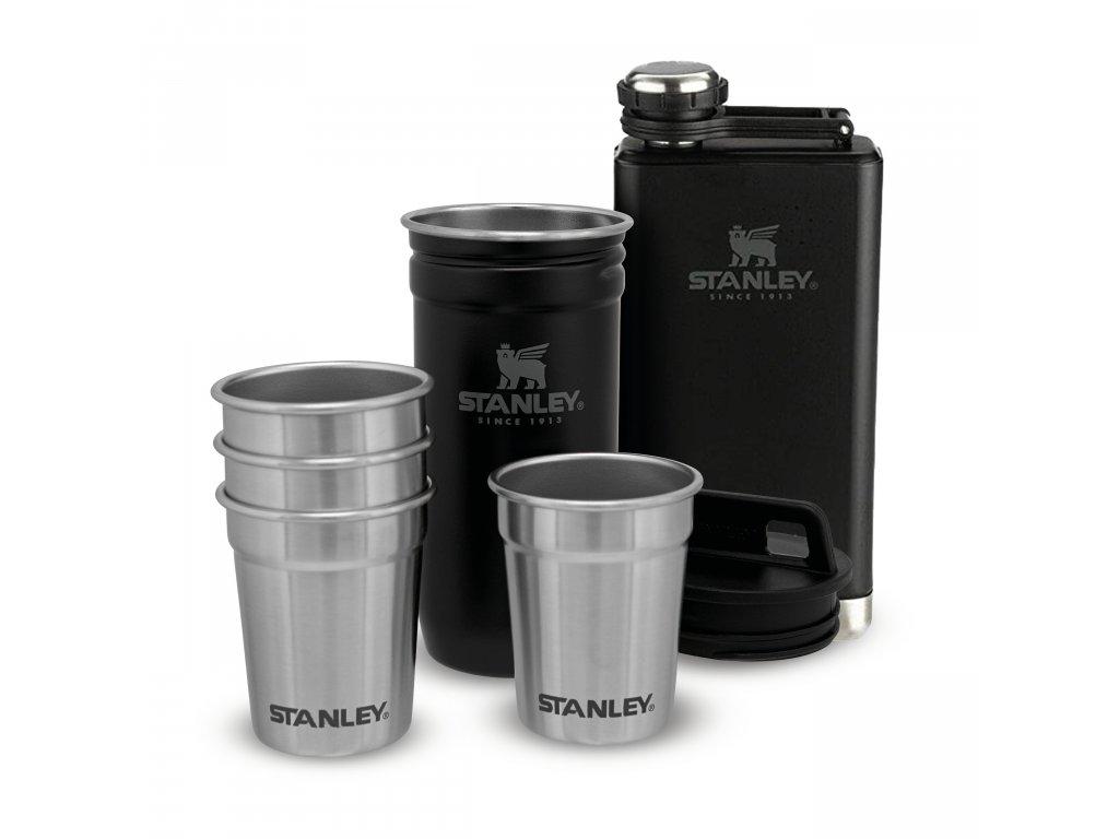 STANLEY Dárkový set Adventure series placatka/butylka 250ml + panáky 4 ks černá mat