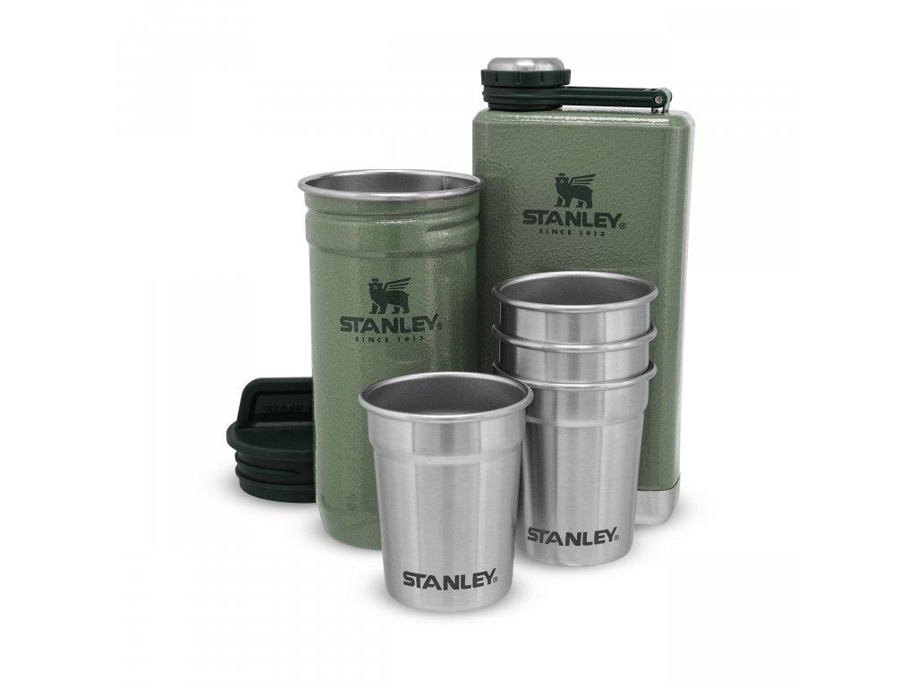 STANLEY Dárkový set Adventure series placatka/butylka 250ml + panáky 4ks zelená