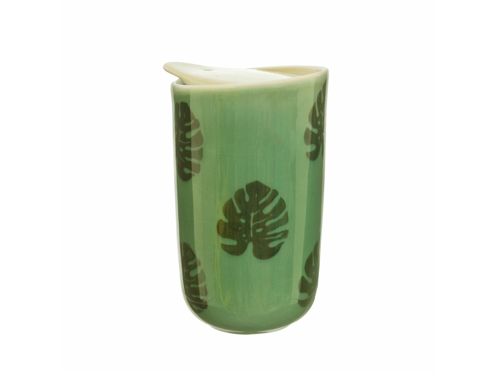 JUX004 A Cheese Plant Leaf Ceramic Travel Mug