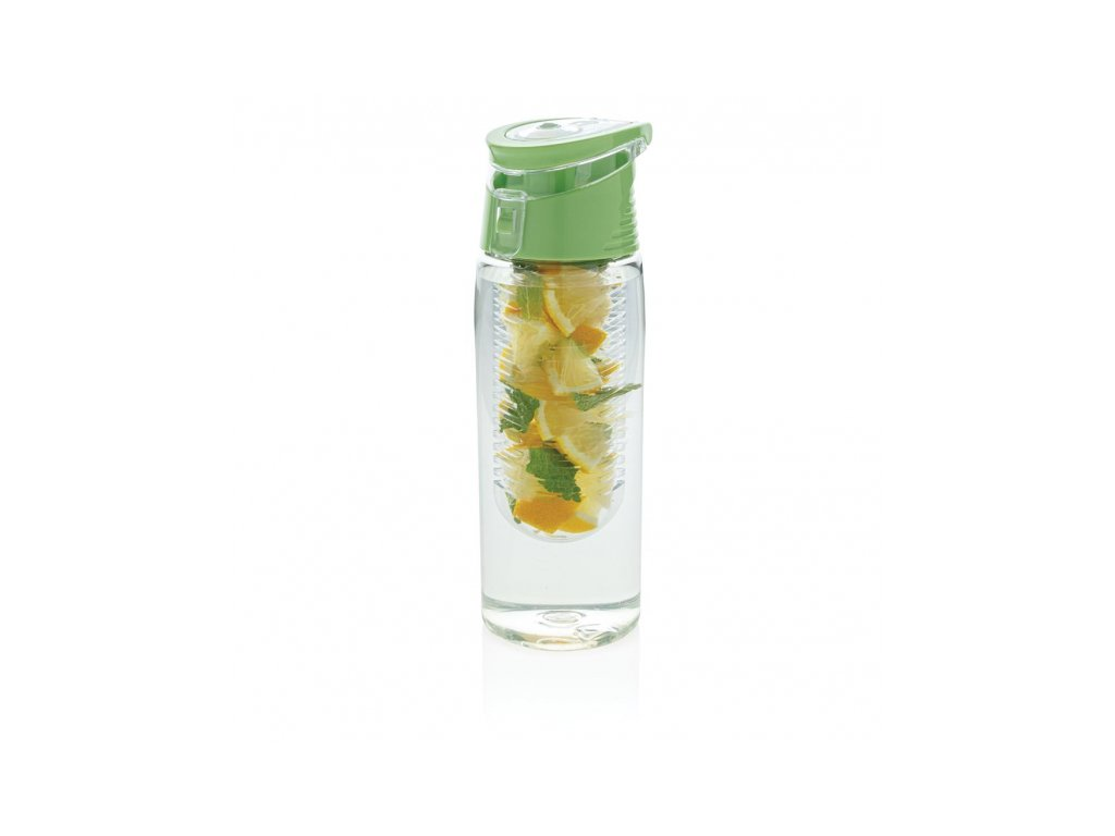 uzamykatelna lahev s kosikem na ovoce 700 ml loooqs cira zelena