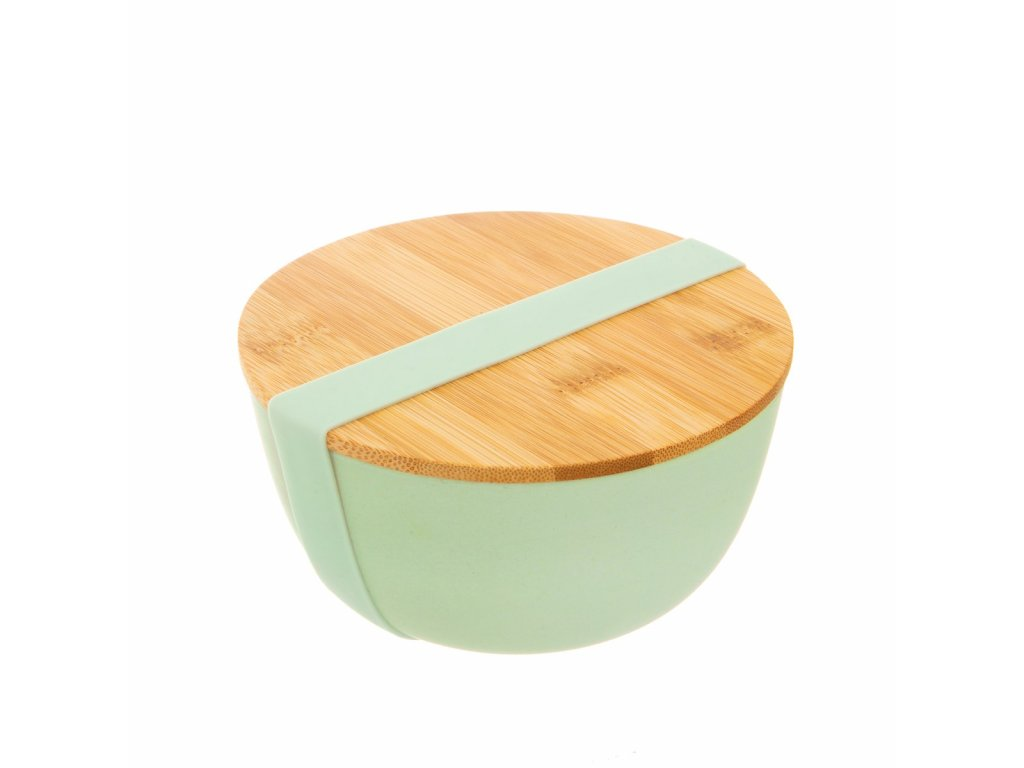 ZOE057 A Teal Bamboo Bowl WIth Lid