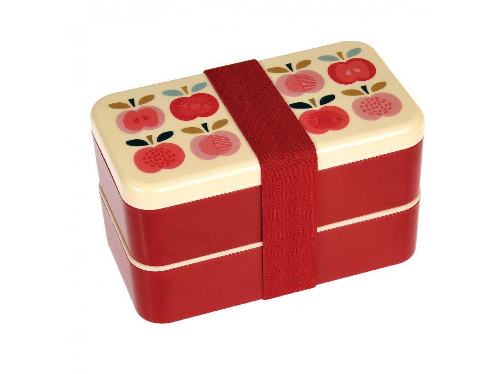 Dvoupatrový svačinový box Rex London - vintage jablíčka