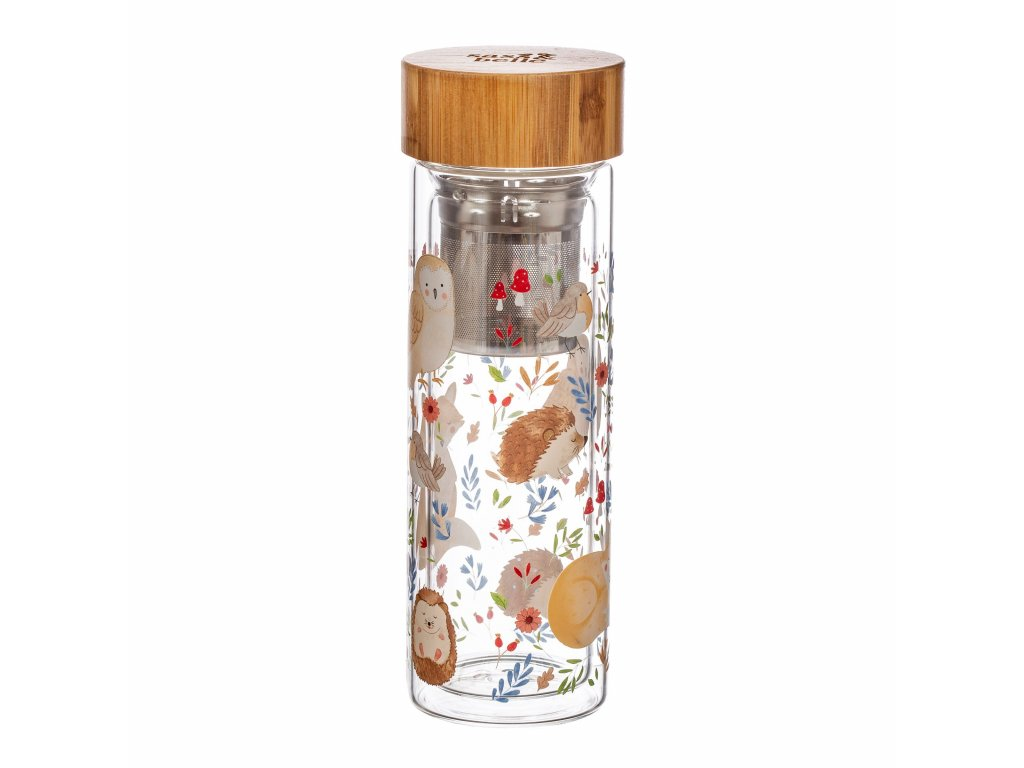 ZIP059 A Forest Folk Glass Water Bottle