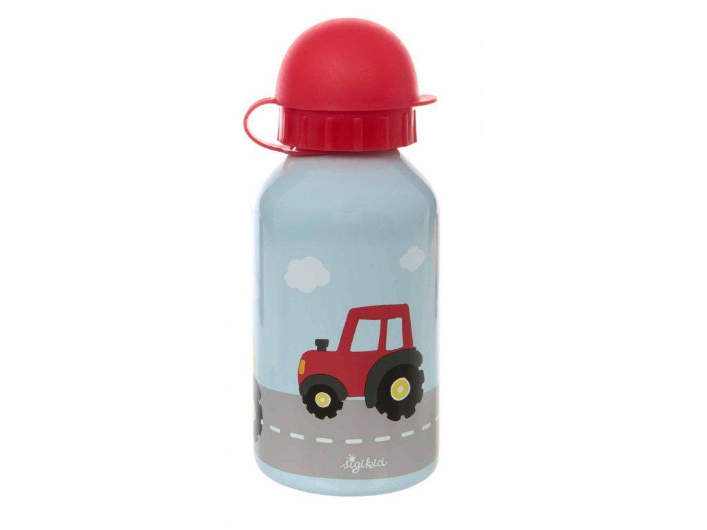 Červený traktor lahvička na pití