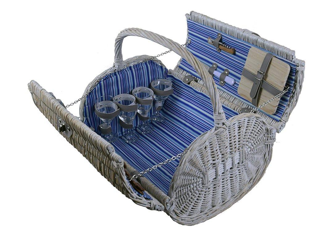 Romantický piknikový koš vybavený pro 4 osoby