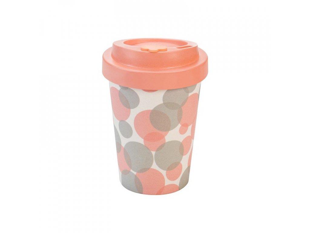 opakovane pouzitelny kelimek na kavu woodway bubbles pink 300 ml zelenadomacnost