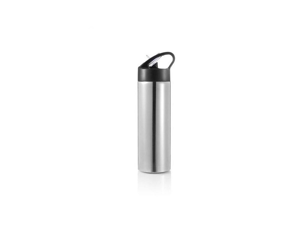 Sport, lahev s brčkem, 500ml, stříbrná