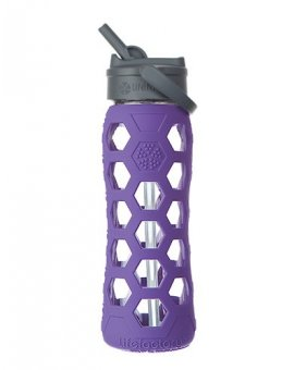 Lifefactory láhev s brčkem 650ml purple