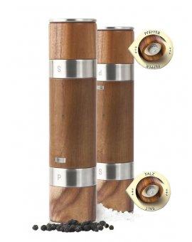 Mlýnek oboustranný DUOMILL ocel/akát, 21cm