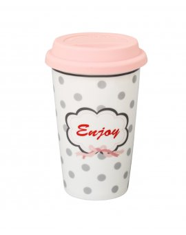 Cestovní porcelánový termohrnek - Enjoy