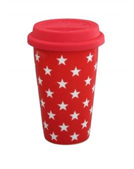Cestovní porcelánový termohrnek - červené hvězdičky