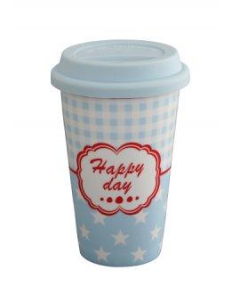Cestovní porcelánový termohrnek - Happy day