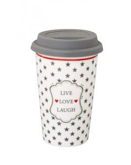 Cestovní porcelánový termohrnek - Live, love, laugh světlý