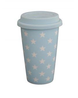 Cestovní porcelánový termohrnek - modré hvězdičky