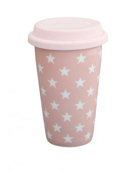 Cestovní porcelánový termohrnek - růžové hvězdičky