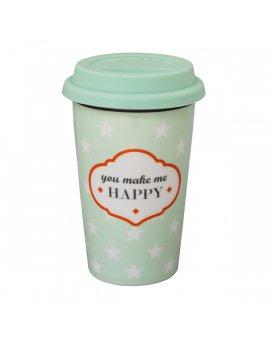 Cestovní porcelánový termohrnek - You make me happy