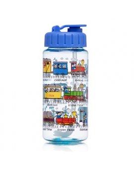 Dětská láhev s brčkem - vlaky