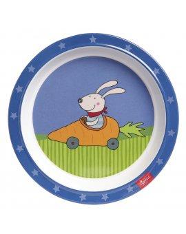 sigikid MELAMIN baby TALÍŘEK zajíček závodník RACING RABBIT se silikonem (21,5 cm)