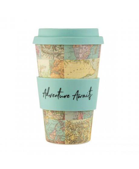 ZOE060 A Vintage Map Collage Bamboo Coffee Cup (1)
