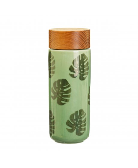 JUX001 A Cheese Plant Leaf Ceramic Bottle