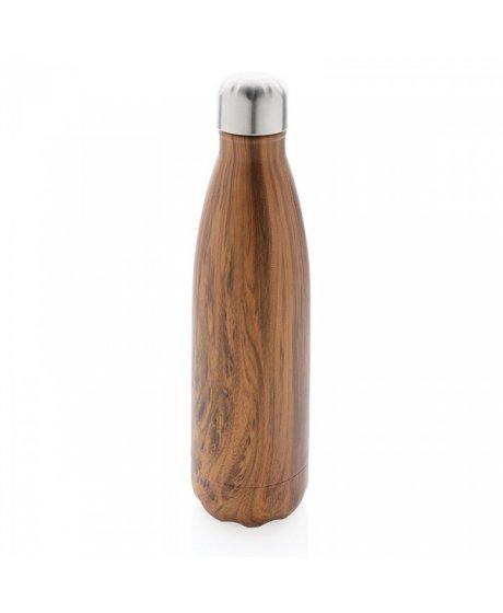 nerezova lahev na vodu dekor tmaveho dreva
