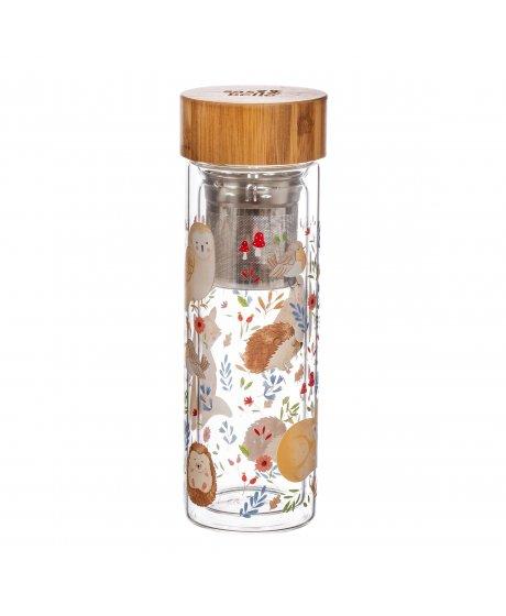 ZIP059 A Forest Folk Glass Water Bottle