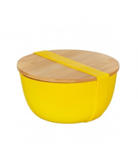 ZOE080 A Yellow Bamboo Bowl With Lid