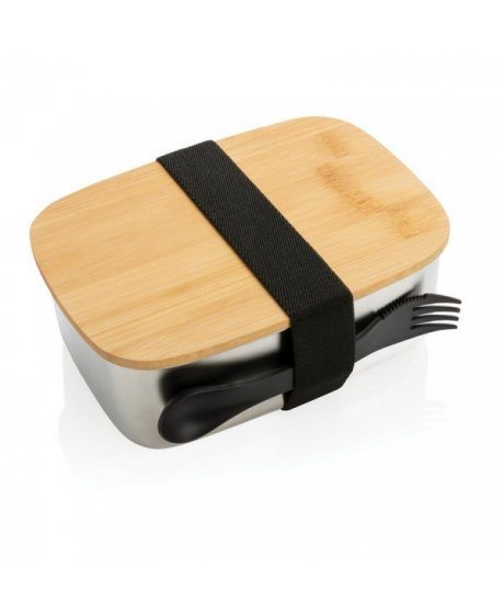svacinovy box z nerezove oceli s bambusovym vikem 15 l xd design stribrny