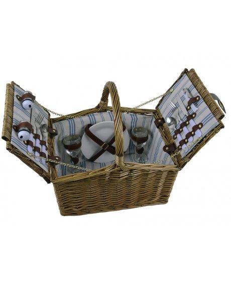 rustikální piknikový koš vybavený pro 2 osoby