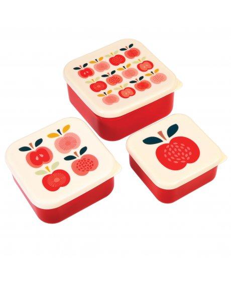 Set tří svačinových boxů vintage jablíčka