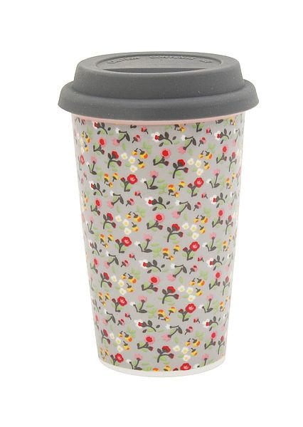 Krasilnikoff Cestovní porcelánový termohrnek - Flowers 300 ml