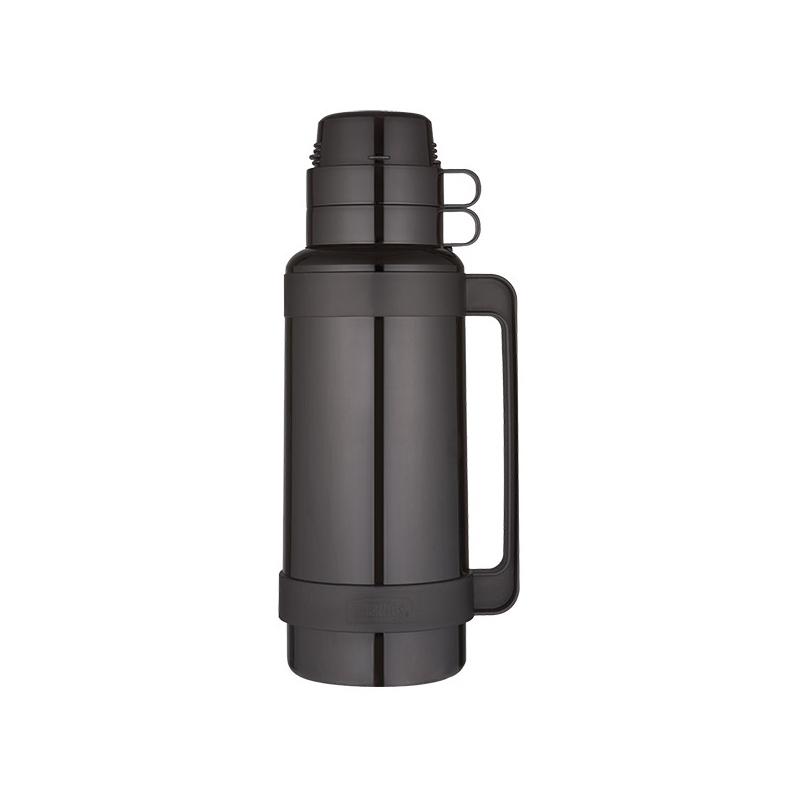 Thermos Skleněná termoska se dvěma šálky - černá 1 l