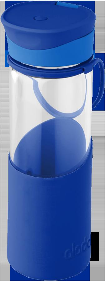 ALADDIN láhev skleněná silikonové pouzdro 500 ml modrá