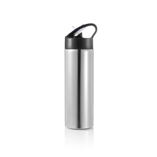XD DESIGN Sport, lahev s brčkem, 500ml, stříbrná
