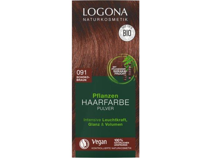 Logona Barva na vlasy 091 Čokoládově hnědá BIO 100 g